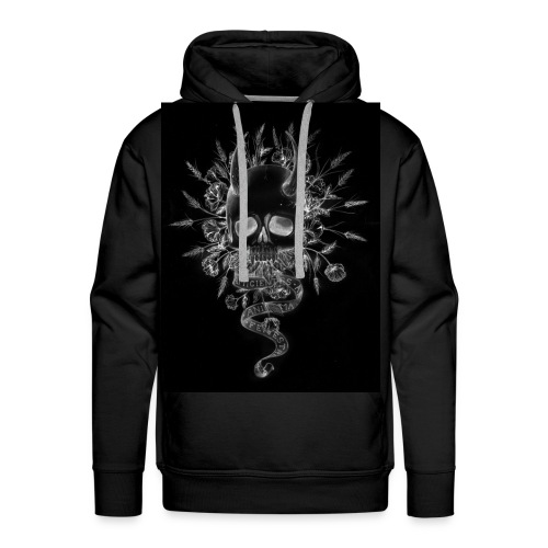 artworkSkull and flowers tshirt print negative - Men's Premium Hoodie