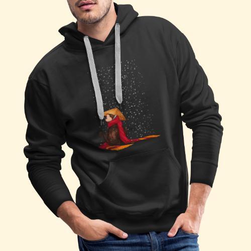 Un singe en hiver sous la neige - Sweat-shirt à capuche Premium pour hommes