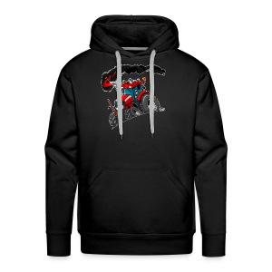 RED TRACTOR white border - Mannen Premium hoodie