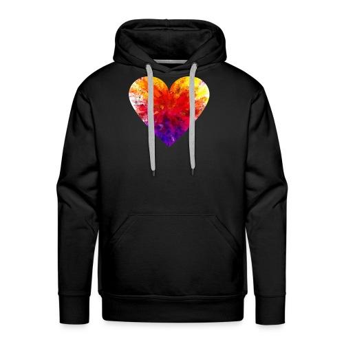 Valentines Day Tee Shirt - Coloured Rainbow Heart - Men's Premium Hoodie