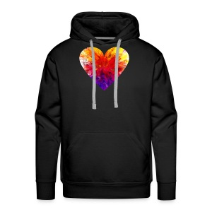 Valentines Day Tee Shirt - Coloured Rainbow Heart - Men's Premium Hoodie