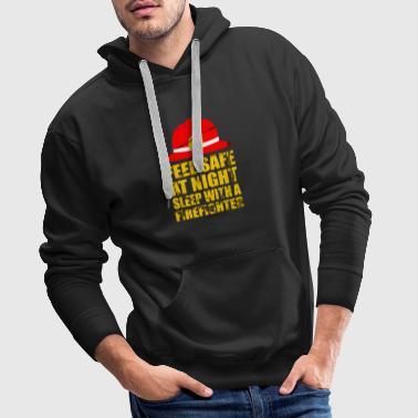 Sea seguro por la noche con un bombero de la vendimia - Sudadera con capucha premium para hombre