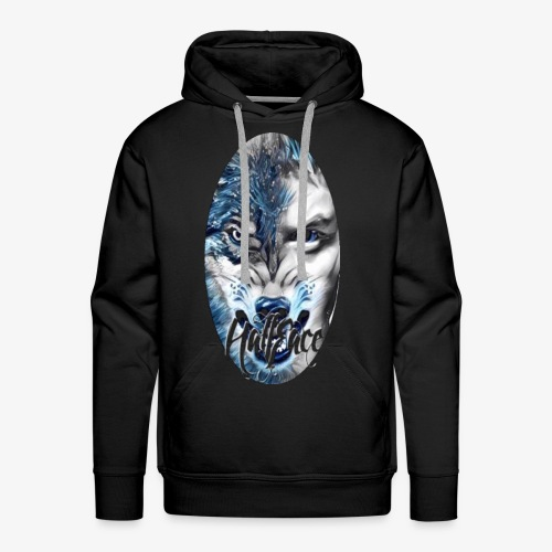 Wolf face Half face png (Black background only) - Men's Premium Hoodie