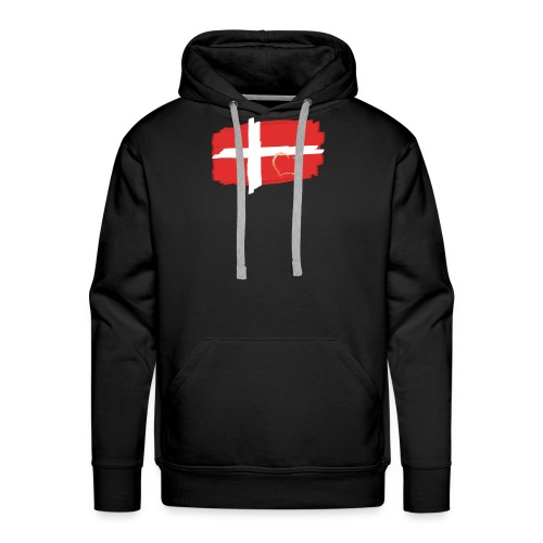 Dänemark Fahne mit Herz Flagge Land Nation - Männer Premium Hoodie