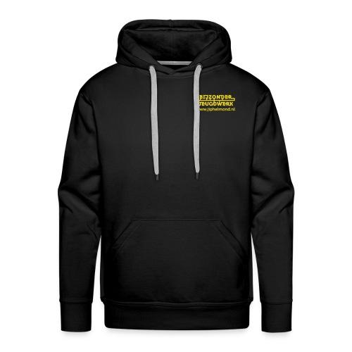 logo geel rechtsboven met jiphelmond - Mannen Premium hoodie