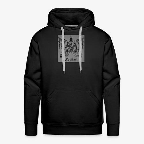 Schmetterling SW Mandala Handgemalt Geschenkidee - Männer Premium Hoodie