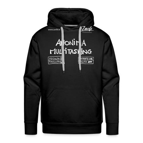 Anonima Multitasking (Bianco) - Felpa con cappuccio premium da uomo