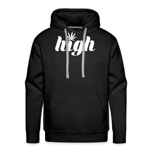 High sign with cannabis leaf - Men's Premium Hoodie