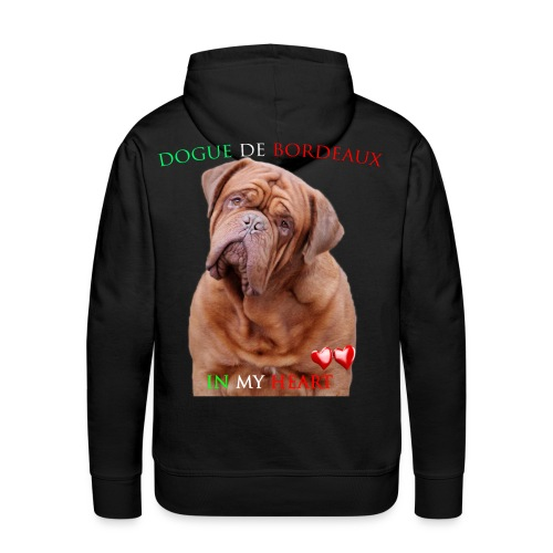 Dogue de Bordeaux in my heart - Felpa con cappuccio premium da uomo