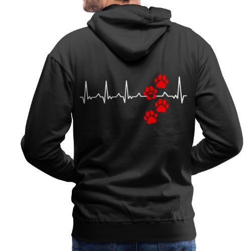 Herz Schlag Hundepfoten Herz Rhythmus Beat Liebe - Männer Premium Hoodie