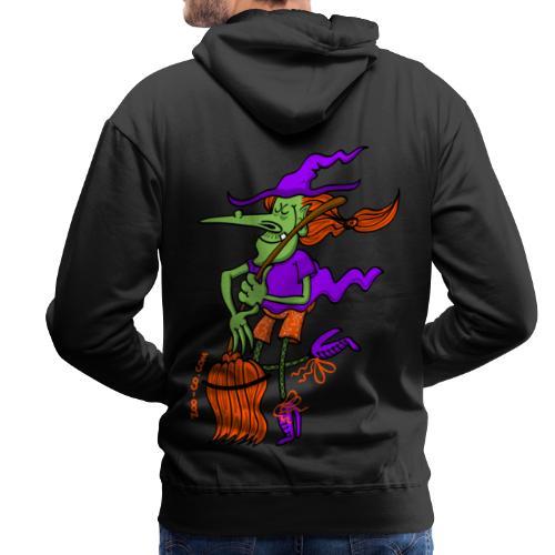Crazy Witch Dancing with her Broomstick - Men's Premium Hoodie