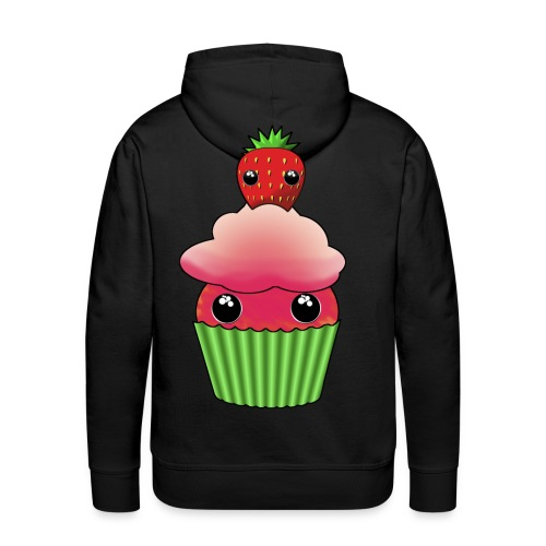 Kawaii cupcake with a strawberry with eyes - Men's Premium Hoodie