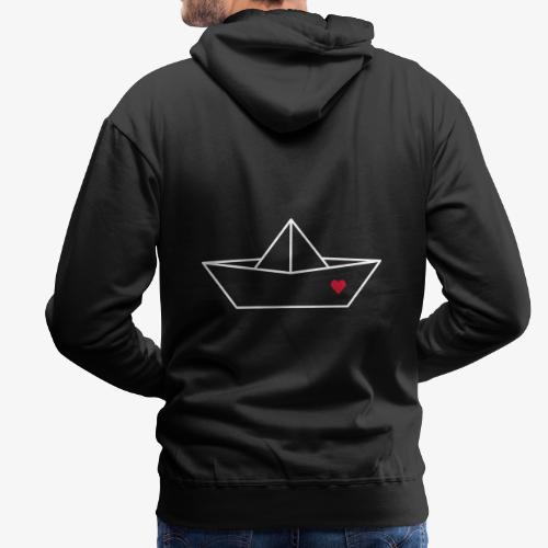 Segelboot Boot Papier Schiff Herz Liebe Geschenk - Männer Premium Hoodie