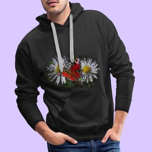 zwei Gänseblümchen mit einem Schmetterling - Männer Premium Hoodie