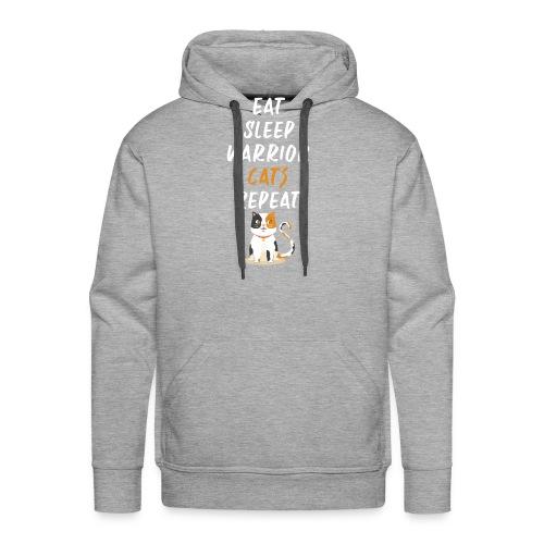 Eat sleep warrior cats repeat - Sweat-shirt à capuche Premium pour hommes