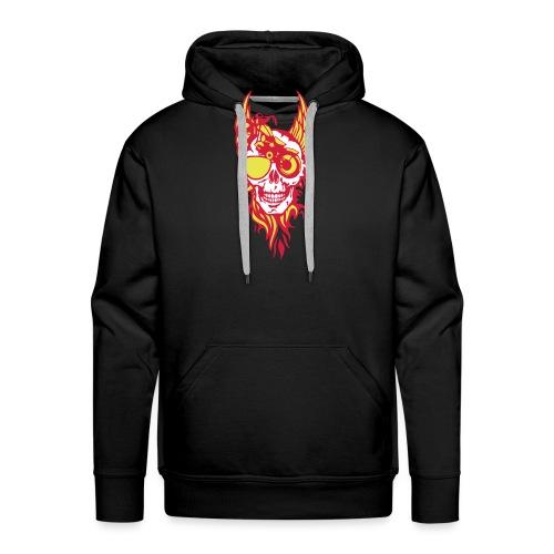 tete mort moto skull aile flamme fire - Sweat-shirt à capuche Premium pour hommes