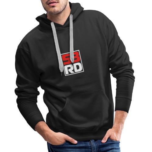 53RD Logo kompakt umrandet (weiss-rot) - Männer Premium Hoodie