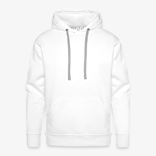 thiccc text logo WHITE - Men's Premium Hoodie