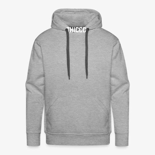 thiccc text logo WHITE - Men's Premium Hoodie
