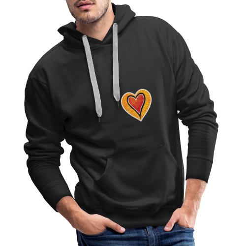 Red heart under Fire - Men's Premium Hoodie
