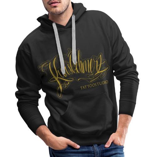Kunstschmerz Logo Schrift gold - Männer Premium Hoodie