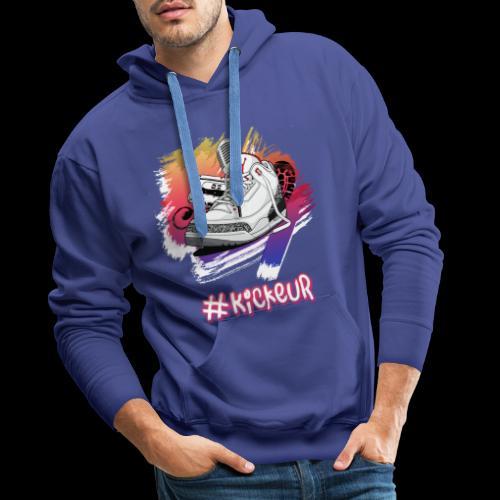 #Kickeur Blanc - Sweat-shirt à capuche Premium pour hommes