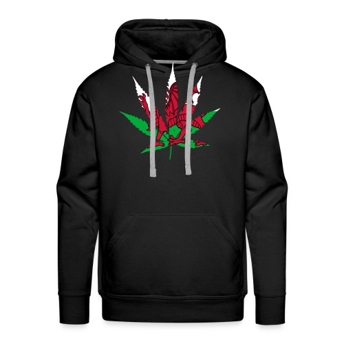 Cannabis Leaf with Welsh Flag overlay - Men's Premium Hoodie