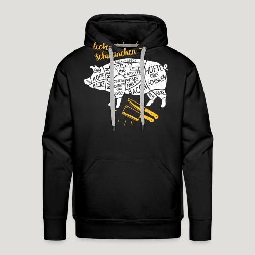 lecker Schweinchen lustiges Grill Shirt Geschenk - Männer Premium Hoodie