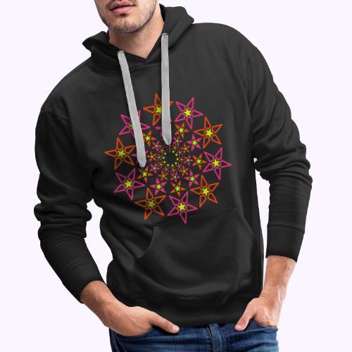 fractal estrella 3 color neón - Sudadera con capucha premium para hombre