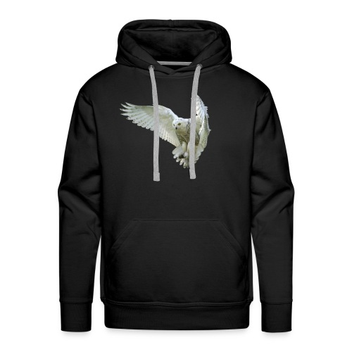 Majestic Snowy Owl in flight - Sweat-shirt à capuche Premium pour hommes