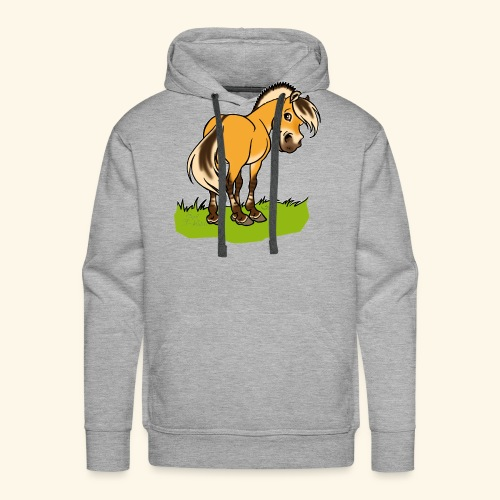 Freundliches Fjordpferd (Ohne Text) Weisse Umrisse - Sweat-shirt à capuche Premium pour hommes