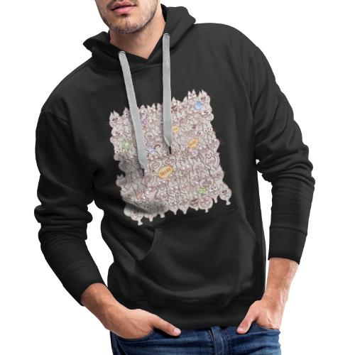 Funny cats posing in a meowing pattern - Men's Premium Hoodie