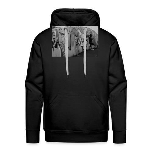 Real - Black and White graffiti bridge - Men's Premium Hoodie