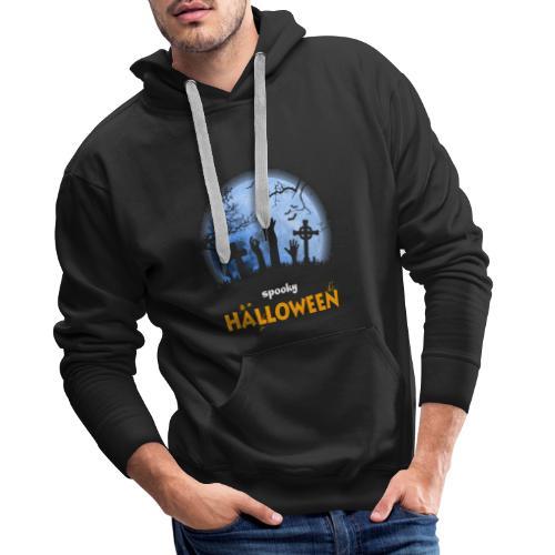 Spooky Halloween Moon cementary t shirt tee - Men's Premium Hoodie