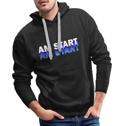 am Start - blau weiß faded - Männer Premium Hoodie