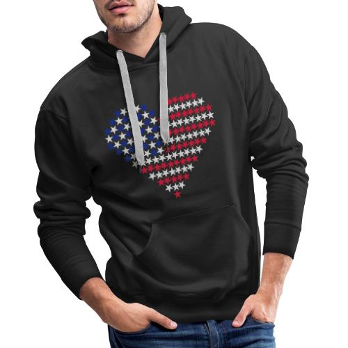 Herz Flagge USA - Männer Premium Hoodie