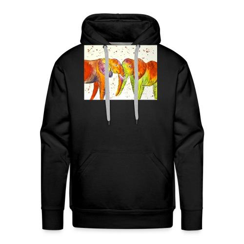 Colourful Elephants Kissing - Men's Premium Hoodie