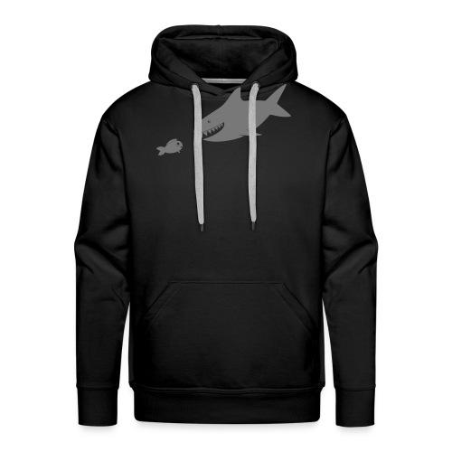 Kleiner Fisch + Hai / dunkler Hintergrund - Männer Premium Hoodie