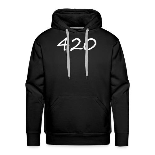 A hand drawn cannabis inspired 420 text logo - Men's Premium Hoodie