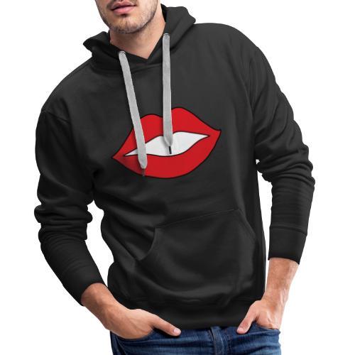 Rote Lippen Mund - Männer Premium Hoodie