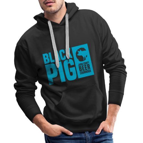 BlackPig Horizontal Bleu - Sweat-shirt à capuche Premium pour hommes