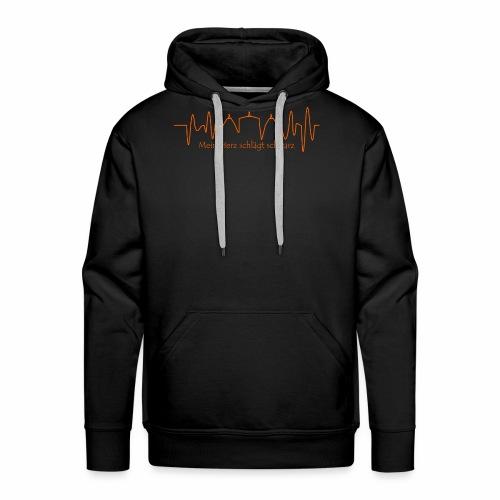 Mein Herz schlägt schwarz orange - Männer Premium Hoodie