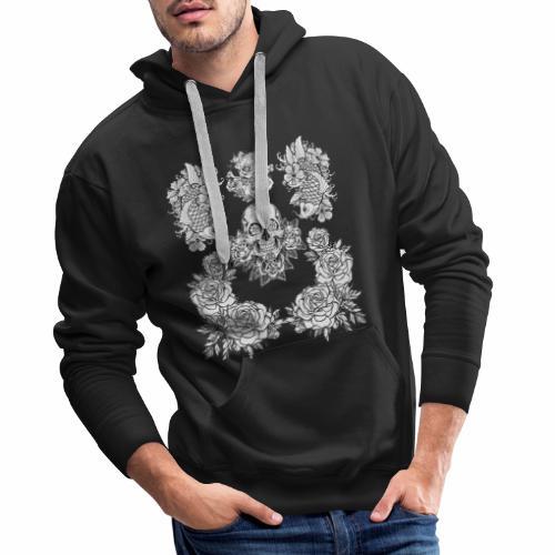 Tête de mort avec rose et carpe Koï - Sweat-shirt à capuche Premium pour hommes