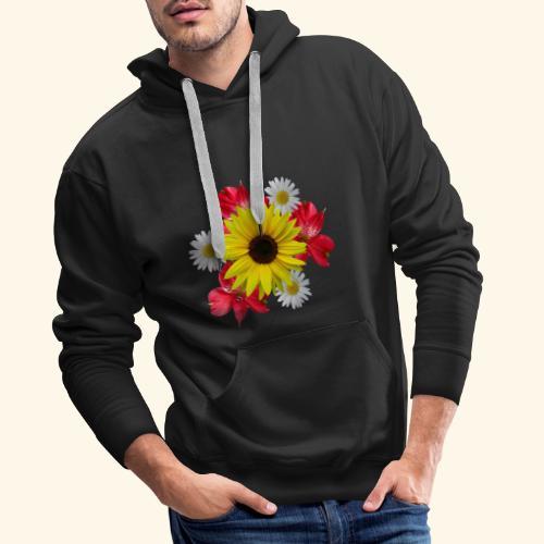 Blumenstrauß, Sonnenblume, Margeriten, rote Blumen - Männer Premium Hoodie