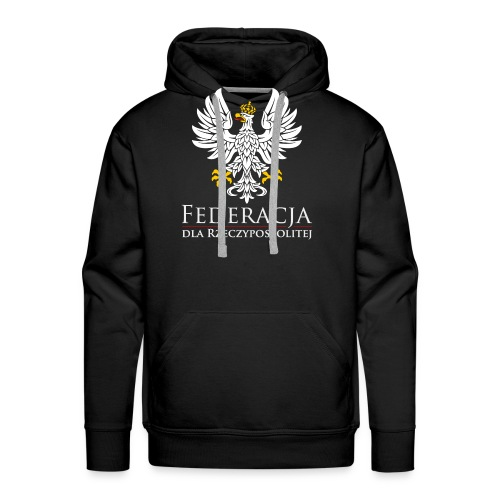 fdr biały napis - Bluza męska Premium z kapturem