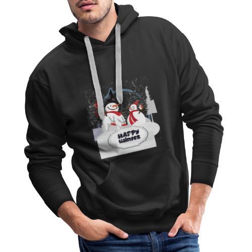 happy winter - Sweat-shirt à capuche Premium pour hommes
