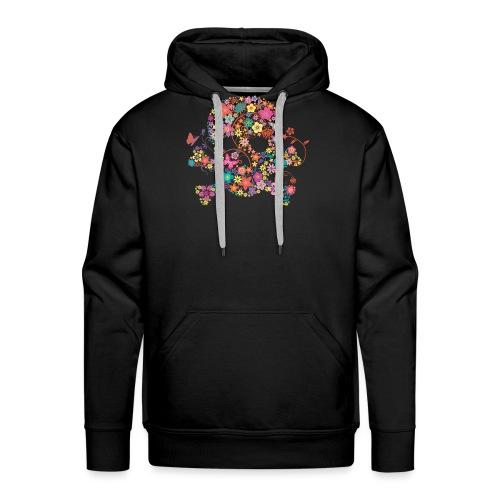 Tête de mort avec des fleurs - flower skull - Sweat-shirt à capuche Premium pour hommes