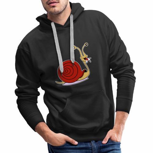Escargot rigolo red version - Sweat-shirt à capuche Premium pour hommes