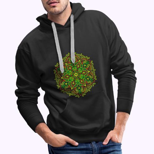 Mandala de loto de fuego - Sudadera con capucha premium para hombre