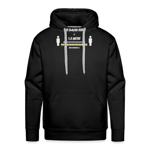 18 Glazen bier = 1,5 meter - Mannen Premium hoodie